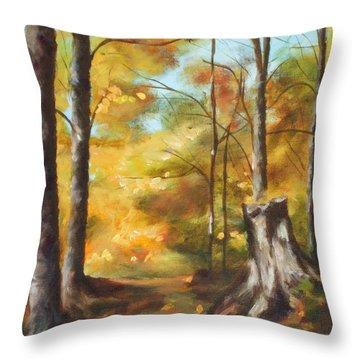 Sunlit Tree Trunk Throw Pillow
