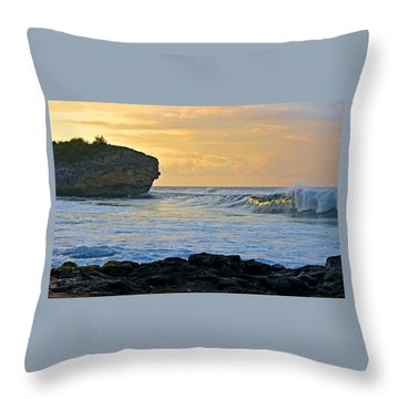 Sunlit Waves - Kauai Dawn Throw Pillow