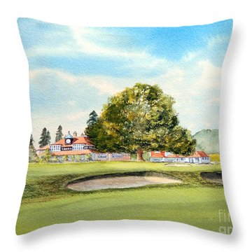 Throw Pillow featuring the painting Sunningdale Golf Course 18th Green by Bill Holkham