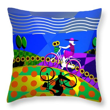 Throw Pillow featuring the digital art Sunny Acres by Randall Henrie