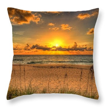 Sunny Beach To Warm Your Heart Throw Pillow
