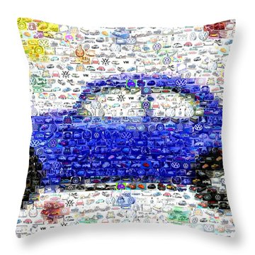 Sunny Blue Vw Bug Mosaic Throw Pillow by Paul Van Scott