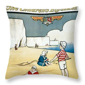Sunny Broadstairs - South Eastern And Chatham Railway - Retro Travel Poster - Vintage Poster Throw Pillow