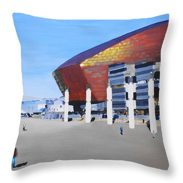 Sunny Day At Cardiff Bay Throw Pillow