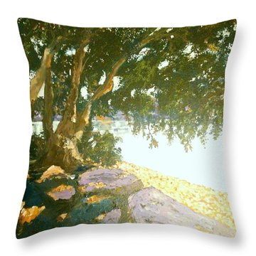 Sunny Day By An Old Tree Throw Pillow