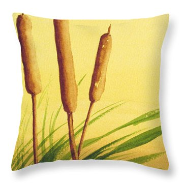 Throw Pillow featuring the painting Sunny Day Cattails by Rich Stedman