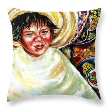 Throw Pillow featuring the painting Sunny Day by Hiroko Sakai