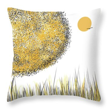 Throw Pillow featuring the painting Sunny Day - Yellow And Gray Tree Contemporary Art by Lourry Legarde