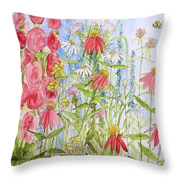 Throw Pillow featuring the painting Sunny Days by Laurie Rohner