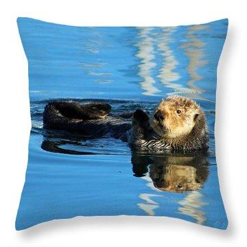 Sunny Faced Sea Otter Throw Pillow