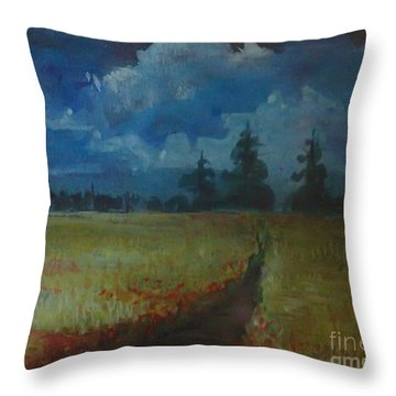 Sunny Field Throw Pillow