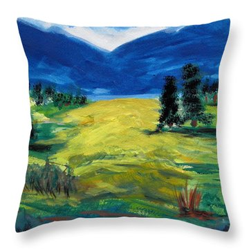 Throw Pillow featuring the painting Sunny Field by Mary Carol Williams