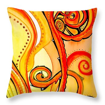 Throw Pillow featuring the painting Sunny Flower - Art By Dora Hathazi Mendes by Dora Hathazi Mendes