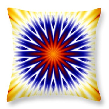 Sunny Fractal Tie Dye Throw Pillow