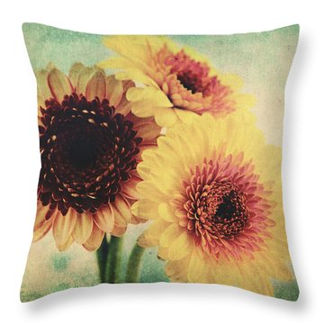 Sunny Gerbera Throw Pillow by Angela Doelling AD DESIGN Photo and PhotoArt