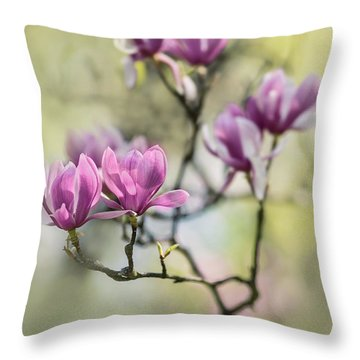 Sunny Impression With Pink Magnolias Throw Pillow