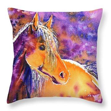 Throw Pillow featuring the painting Sunny Mare by Zaira Dzhaubaeva