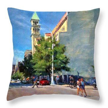 Summer Morning Near St. Michael's Church, Amsterdam Ave. Throw Pillow