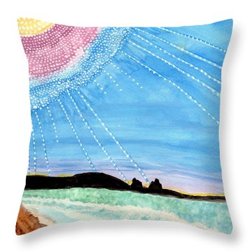 Sunny Ocean Days Are Bigger Than Life Throw Pillow by Connie Valasco
