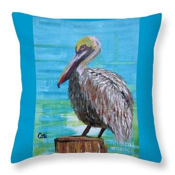 Sunny Pelican Day Throw Pillow