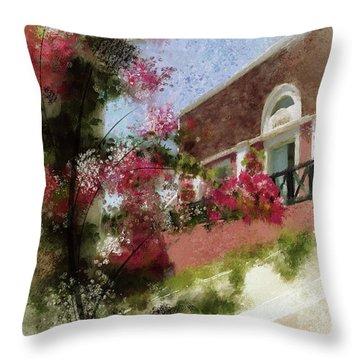 Throw Pillow featuring the photograph Sunny Santorini by Lois Bryan