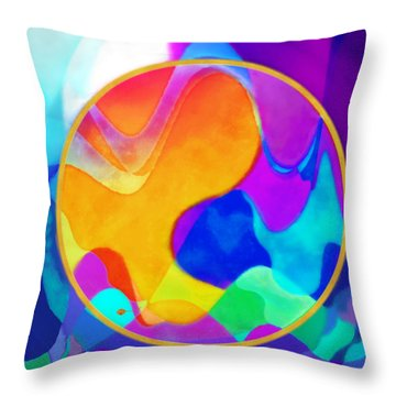 Sunny Sea Unbordered Throw Pillow by Mathilde Vhargon