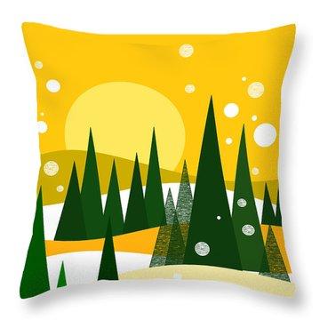 Sunny Snow Throw Pillow