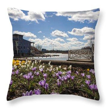 Sunny Spring Flowers In Helsinki Throw Pillow