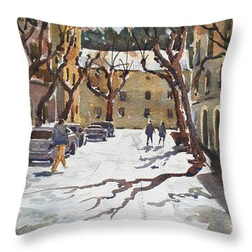 Throw Pillow featuring the painting Sunny Street, Valledemossa by David Gilmore