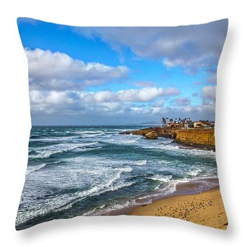 Sunny Sunset Cliffs Throw Pillow by Peter Tellone
