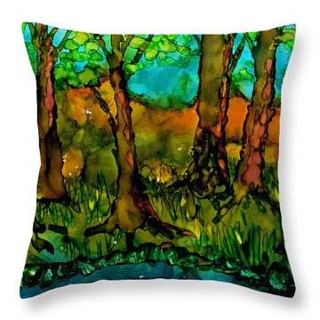Sunny Trees Throw Pillow