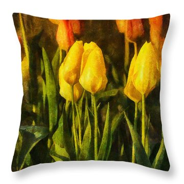 Sunny Tulips Throw Pillow