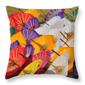 Sunny With A Chance Of Rain Throw Pillow by Gail Butters Cohen