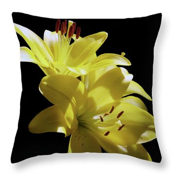 Sunny Yellow Lilies Throw Pillow