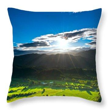 Sunrays Flood Farmland During Sunset Throw Pillow
