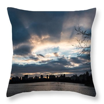 Sunrays Over Manhattan Throw Pillow