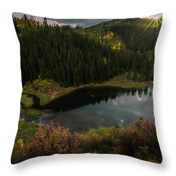 Sunrays Over The Lake Throw Pillow