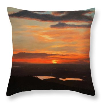 Sunrise Above Boulder Throw Pillow