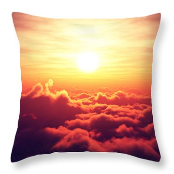 Sunrise Above The Clouds Throw Pillow