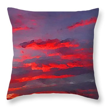 Sunrise Abstract, Red Oklahoma Morning Throw Pillow