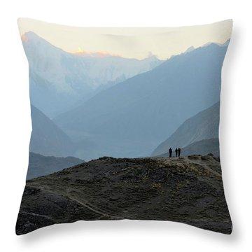Sunrise Among The Karakoram Mountains In Hunza Valley Pakistan Throw Pillow