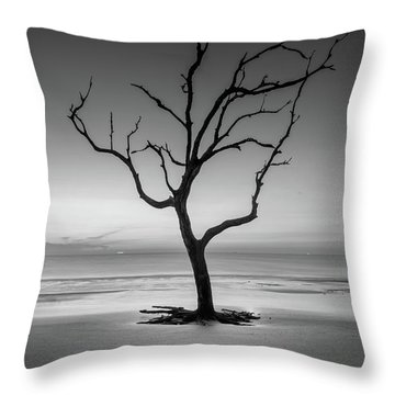 Throw Pillow featuring the photograph Sunrise And A Driftwood Tree In Black And White by Greg Mimbs