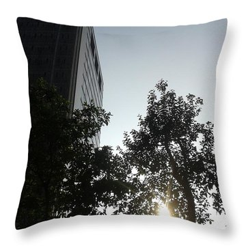 Sunrise And Building Throw Pillow