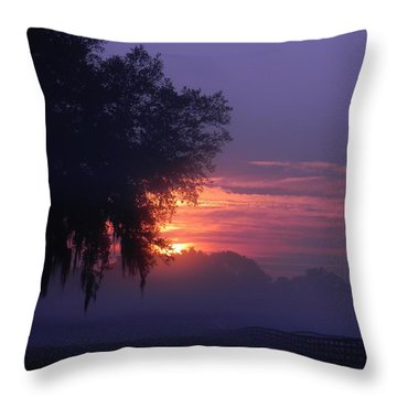 Sunrise And Fog Throw Pillow by Warren Thompson