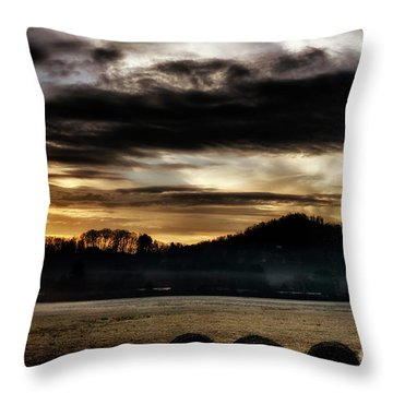 Throw Pillow featuring the photograph Sunrise And Hay Bales by Thomas R Fletcher