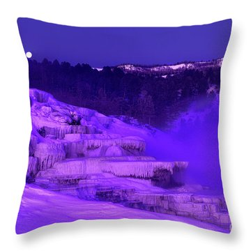 Sunrise And Moonset Over Minerva Springs Yellowstone National Park Throw Pillow