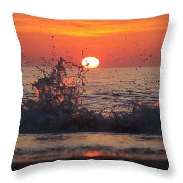 Sunrise And Splashes Throw Pillow by Robert Banach