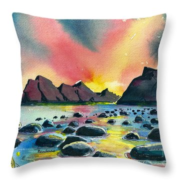 Throw Pillow featuring the painting Sunrise And Water by Terry Banderas