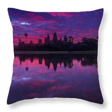 Sunrise Angkor Wat Reflection Throw Pillow