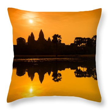 Sunrise At Angkor Wat Throw Pillow